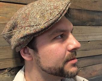 Mens Vintage Newsboy flat hat cap- tweed