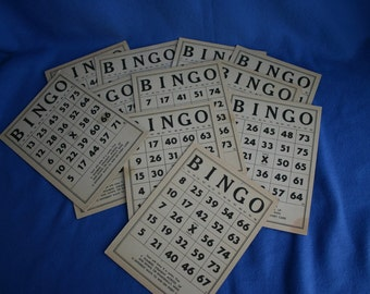 One Dozen Vintage Bingo Cards
