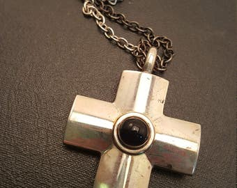 Vintage Georg Jensen Sterling and Onyx Cross