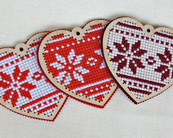 wooden heart ornament Norway style cross stitch heart cute winter Eco friendly housewarming gift valentines day decor Christmas decoration