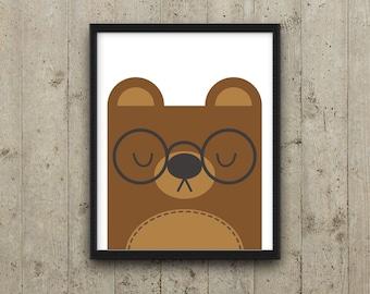 Kids Wall Art, Printable Nursery Decor, Kids Room Decor, Bear Nursery Art, Animal Nursery Print, Instant download