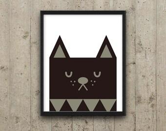 Black cat Nursery Art, Kids Wall Art, Printable Nursery Decor, Kids Room Decor, Kitty Nursery Art, Animal Nursery Print, Instant download