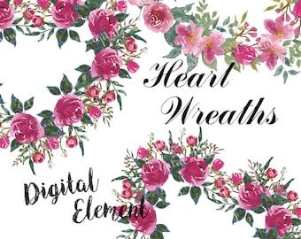 Watercolor Clip-art, Digital Floral Clipart, Digital Shabby Pink Roses, Digital Heart Floral Wreath, Wedding Rose Floral Clip-art. No. WC.32