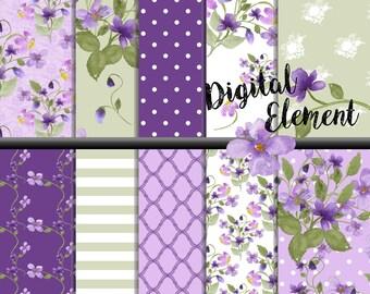 Digital Watercolor Florals, Violet Digital Paper, Shabby Chic Floral Violet Paper, Shabby Digital Violet Paper. No. P175