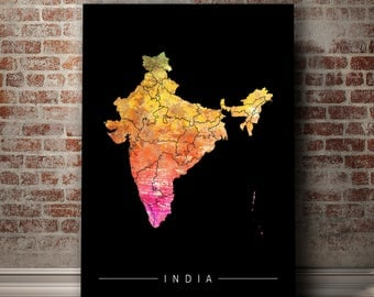 India Map - Country Map of India - Art Print Watercolor Illustration Wall Art Home Decor Gift - PRINT