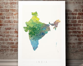 India Map - Country Map of India - Art Print Watercolor Illustration Wall Art Home Decor Gift Embossed PRINT