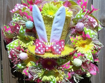 Easter Wreath, Whimiscal Easter Wreath, Whimical Floral Top Hat Wreath, Spring Wreaths, Front Door Wreath, Home Decor