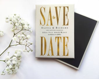 Wedding Save the Date Magnet - Elegant Gold and Cream