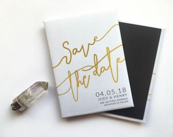 Wedding Save the Date Magnet - White and Gold Signiture Script