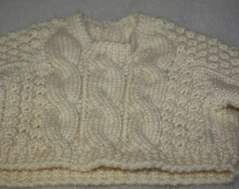 Handknitted baby jumper wool jumper baby sweater short sleeves baby jumper 3 - 6 months thick wool winter knit for baby beige unisex jumper