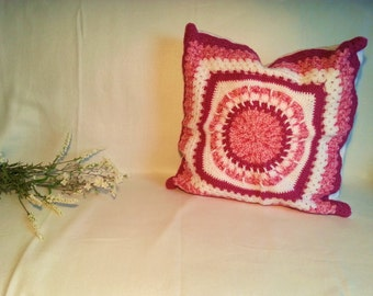Tri-color crocheted pillow