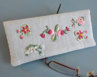 Eyeglasses Case/ Vintage Replica Eyeglass Case/ Embroidered Fabric Eyeglasses Case
