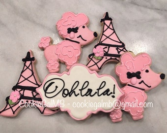 Poodle in Paris Cookies
