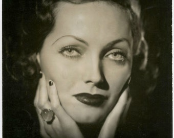 Classic Hollywood Actress Adrienne Ames Old Original 1933 Close Up Art Deco Glamour Portrait Large Format Vintage Photograph By Jose Reyes