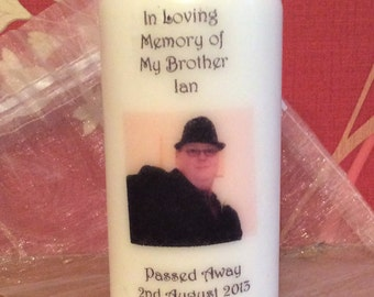 Personalised Photo Remembrance Pillar Candle Made To Order
