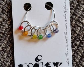Small Knitting Stitch Markers | Snag Free Stitch Markers | Snagless Stitch Markers | Frosted Rainbow Stitch Markers