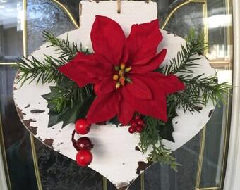 Christmas Door Decor, Christmas Door Ornament, Wooden Ornament, Poinsettia Ornament