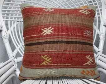 decorative kilim pillow 16x16 turkish striped kilim pillow bohemian kilim pillow ethnic pillow throw pillow pale pillow  1351