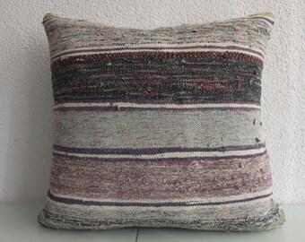 Multicolor Striped Kilim Pillow 24x24 Vintage Turkish Kilim Pillow Decorative Kilim Pillow Ethnic Pillow Throw Pillow 388