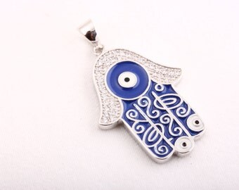 Hand of Fatima! Turkish Handmade Jewelry Topaz Hamsa Evil Eye 925 Sterling Silver Pendant