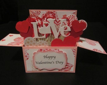 Handmade 3D Mother's Day  card in a box -Linking hearts