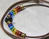 Rugged Rainbow Adjustable Real Leather Choker - Translucent