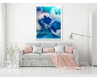 "Modern Art, Fine Art, Large wall art, blue, green, white and white Giclee print of painting by ciara.resinart ""Smoke and Morrors"""