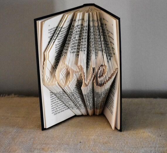 Anniversary Gift Featuring the Word Love, Husband Gift, Book Nerd, Decorative Folded Book Art Sculpture