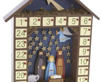 Traditional Wooden Advent Christmas Nativity Calendar - December Count Down - For Adults & Kids Alike