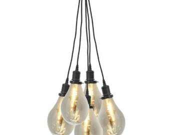 Ceiling Lamp Lighting With Large Glass Bulbs - 5 light Pendant, Industrial, Loft Living, Vintage, Farmhouse, Apartment Living Home Decor