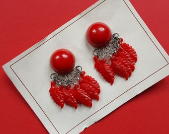 Florence vintage feather earrings - Red