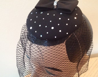 Black Fascinator with bow and veil