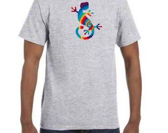 Cool Tye Dye Gecko 100% Cotton T- Shirt