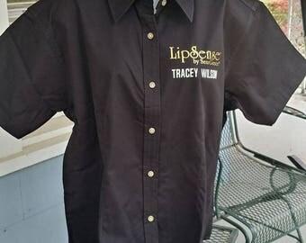 LipSense® Full Button Short Sleeve Dress Shirt