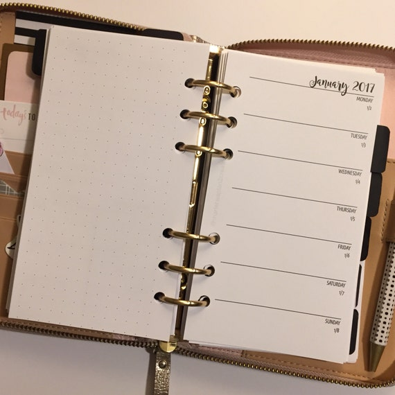 Week On 1 Page With Dot Grid Personal Size Printed Planner Inserts - BOLD