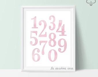 Girls room Decor, Baby girl nursery wall art, Playroom art print, Pink numbers Nursery decor, Girls room wall art, Gift for girls #0018P