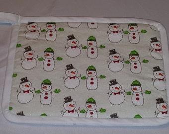 """9""""x7"""" Holiday Pot Holder - Little Snowmen"""