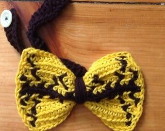 Oversized black & yellow bowtie