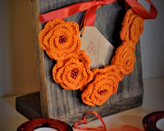 Crocheted Flower necklace Mothers Day gift idea for her Orange accessories