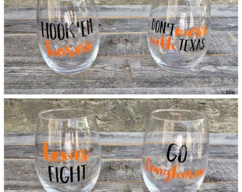 Texas Longhorns Wine Glasses // Stemless Wine Glasses Set of 4 // Hook 'Em Horns // Go Longhorns // Texas Fight // Don't Mess with Texas