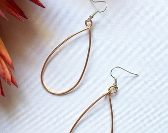 Copper Teardrop Hoop Earrings