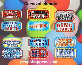 Carnival Photo Booth Props | Carnival Prop Signs | Carnival Signs