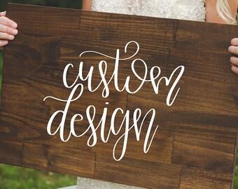 Handpainted Custom Designed Wedding Wood Sign,Rustic Sign,Rustic Decor