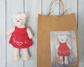 Annabelle Bear Knitting Kit - Make Your Very Own Teddy bear - Easy To Knit Pattern