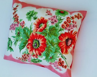 "Vintage cushion, Tea towel cushion, Lounge cushion, Patio cushion, ""READY TO SHIP"""