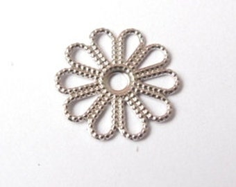 Silver round fower filigree charm 17mm (2 pieces)