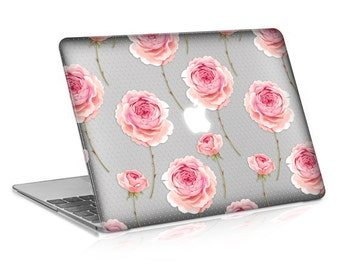 Macbook Rubberized Hard Case, Rose Dots Design with Clear Bottom Case