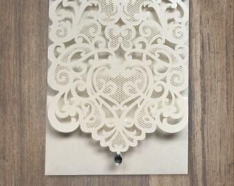 Laser cut Pocket Invitation with Rhinestone, Lasercut Wedding Invitation, Traditional Wedding Invitation