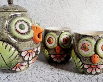 Wedding gift ceramic tea set Owls Housewarming gift ideas for mom birthday gift ideas Pottery tea set Funny gift for mom Pottery handmade