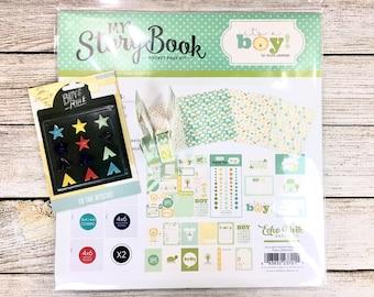 FREE SHIPPING My Story Book Kit/It's a Boy Kit/Pocket Page Kit/Scrapbooking Kit/Project Life